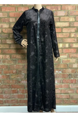 Front open zip, fabric Embossed Velvet abaya- 50012