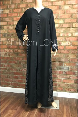 Front open with 10 buttons styles abaya, Chiffon fabric with Zari work at the back- 50018