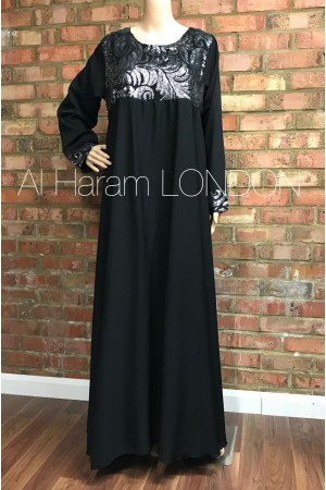 Close Abaya, Chiffon fabric with Zari work at the back- 50019