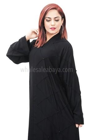 Black nida fabric square detailing, closed abaya 30371