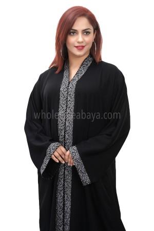 Black nida fabric, open abaya, with lace work 30378