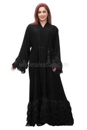 Black nida fabric hem and sleeve detailing, open abaya, with lace work and black tassel belt 30379