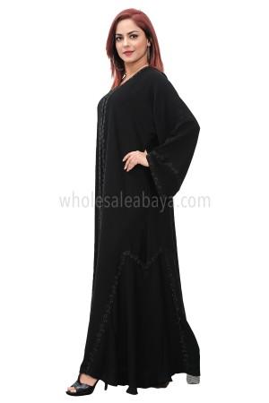 Classic black nida fabric, closed abaya with diamante stonework 30389