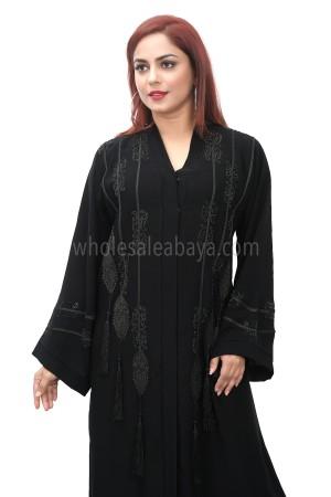 Classic black nida fabric, open abaya, embroidery and diamante stonework 30391