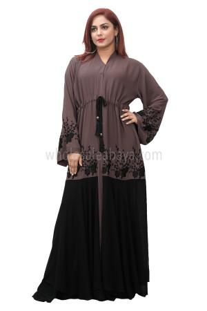 Dark peach zoom nida fabric flared sleeve, open abaya with inner black tassel belt 30397