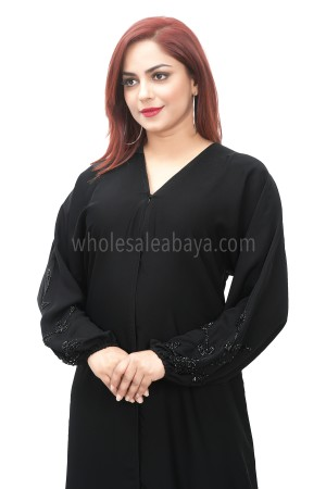 Black nida fabric handwork sleeves detailing, open abaya 30399
