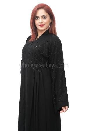 Classic black pine nida fabric lower bodice layered, open abaya 30401