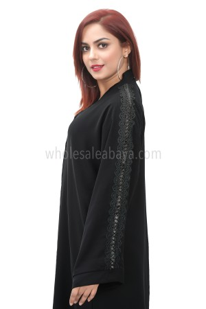 Black nida fabric handwork and sleeves detailing, open abaya with lace work 30407