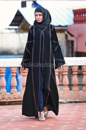 Aari Embroidered Belted Abaya - 30211
