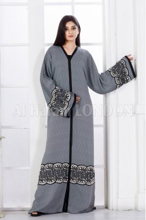 Circling Lace Grey Abaya - 30324