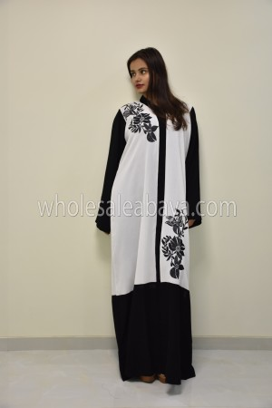 Black & White  Embroidered Nida Abaya 30307