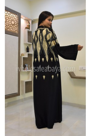 Black Heavy Front Embroidered  Abaya 30335
