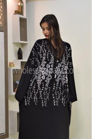 Black Floral chain Embroidered Nida Abaya - 30336
