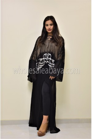 Chiffon Detailed Embroidered Open Party Abaya 30337