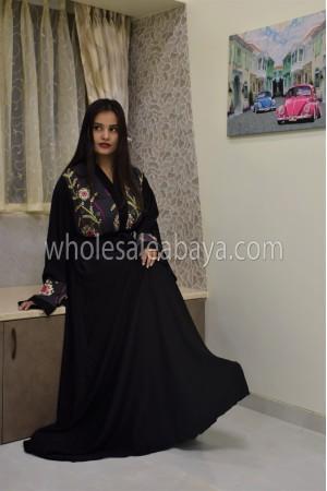 Top Embroidered Belted Black Nida Abaya - 30338