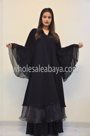 Net Three Layered Umbrella Abaya - 30342