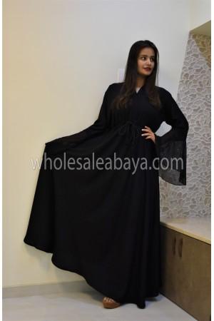 Classic Knotted Umbrella Style Black Nida Abaya 30345