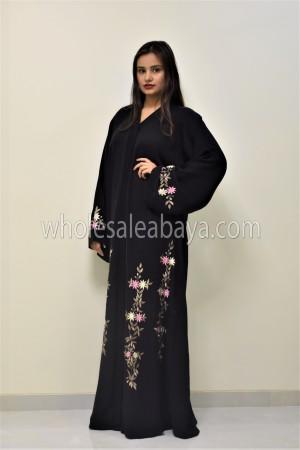 Embroidered Pink Floral Motif Designer Nida Abaya 30349