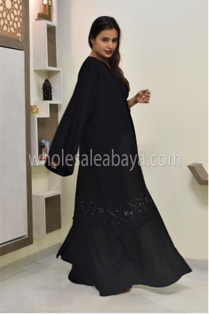 Modern Black Beaded Nida Abaya - 30350